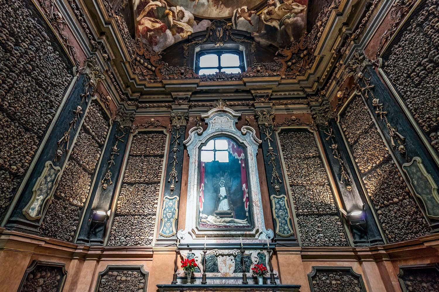 San Bernardino alle Ossa is a church in Milan, known for its ossuary, decorated with human skulls and bones