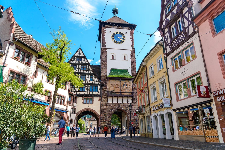 Schwabentor gate in Freiburg im Breisgau, Baden-wurttemberg, Germany