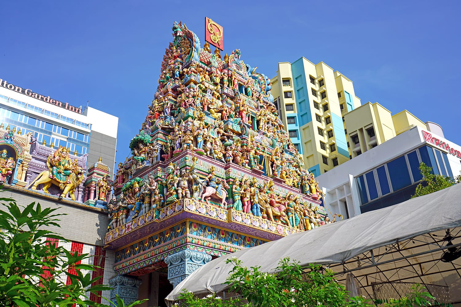 The Sri Veeramakaliamman Temple, located on Serangoon Street in Little India, Singapore