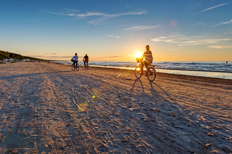Empty Jurmala beach in Latvia at sunset
