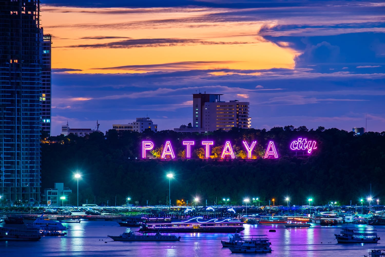 Sunset over Pattaya in Thailand