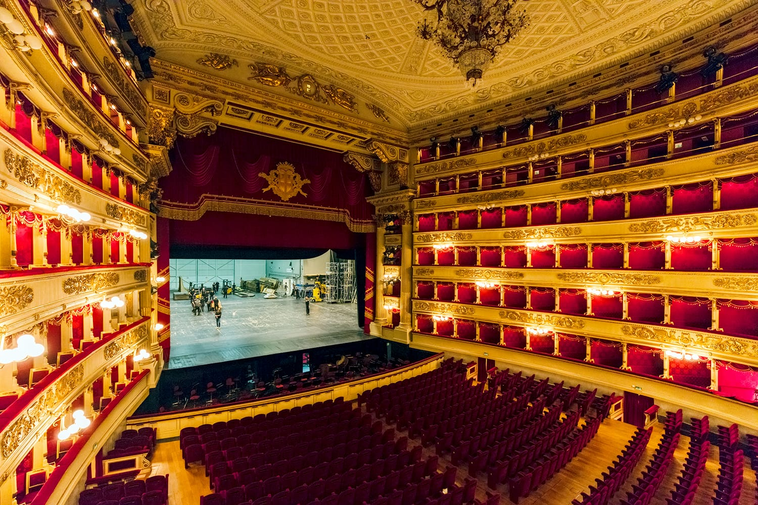 Main concert hall of Teatro alla Scala, an opera house in Milan, Italy