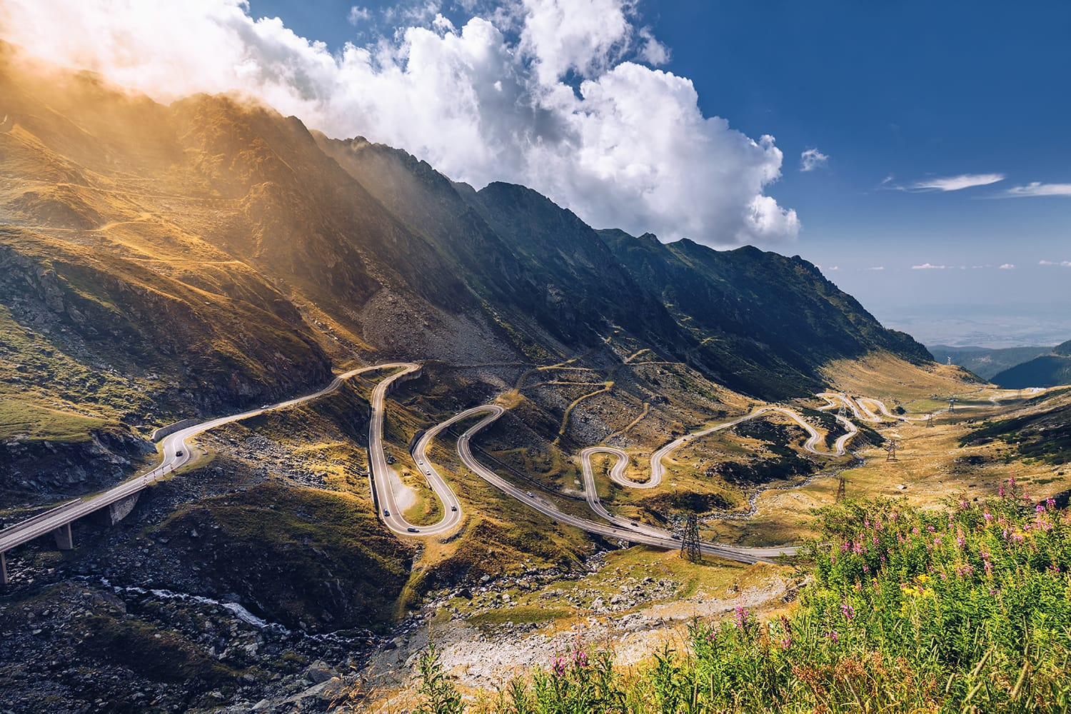 Transfagarasan pass in summer. Crossing Carpathian mountains in Romania, Transfagarasan is one of the most spectacular mountain roads in the world