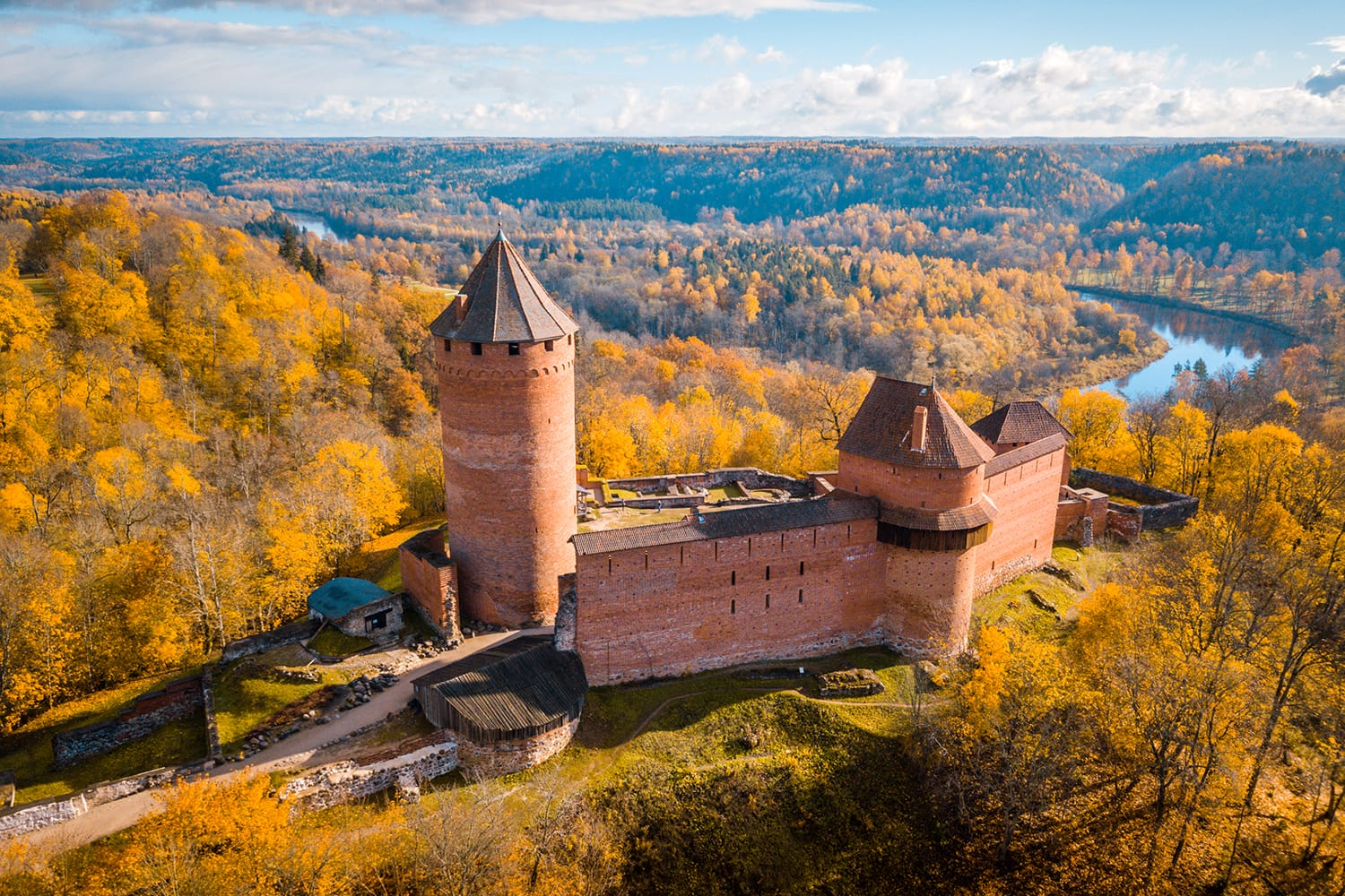 Amazing Aerial View over the Turaida Castle during Golden Hours, Sunset Time, Sigulda, Latvia