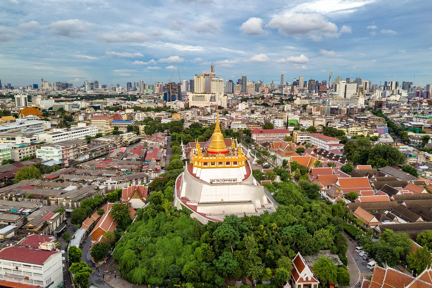 Aerial view of Wat Saket in Bangkok, Thailand