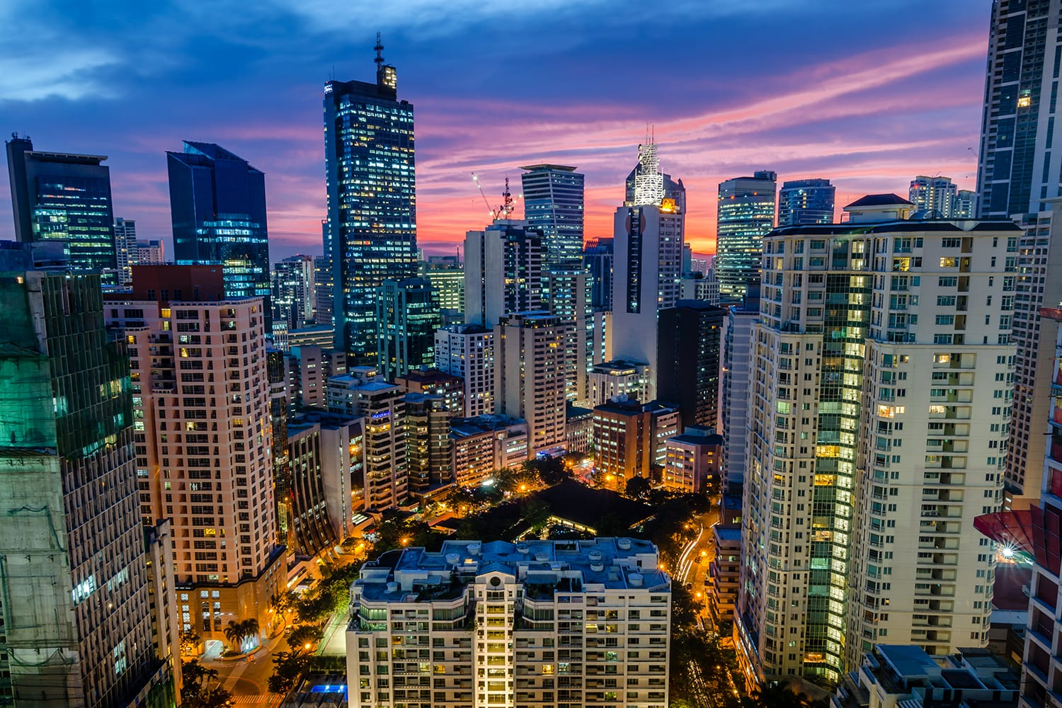 Aerial view of Makati in Manila, Philippines