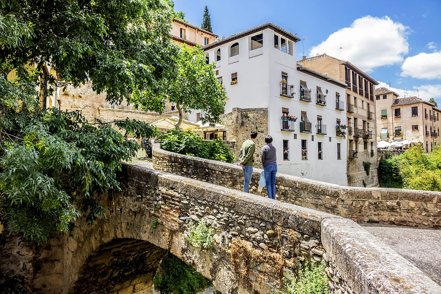 Darro Street (Carrera del Darro) is one of the most scenic walks in Granada, Spain