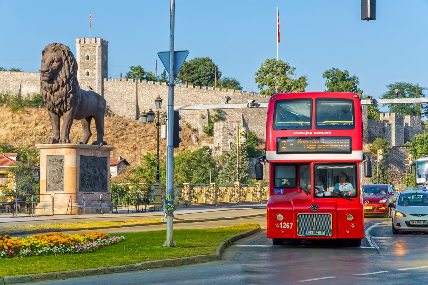 Double decker red bus in Skopje, Macedonia