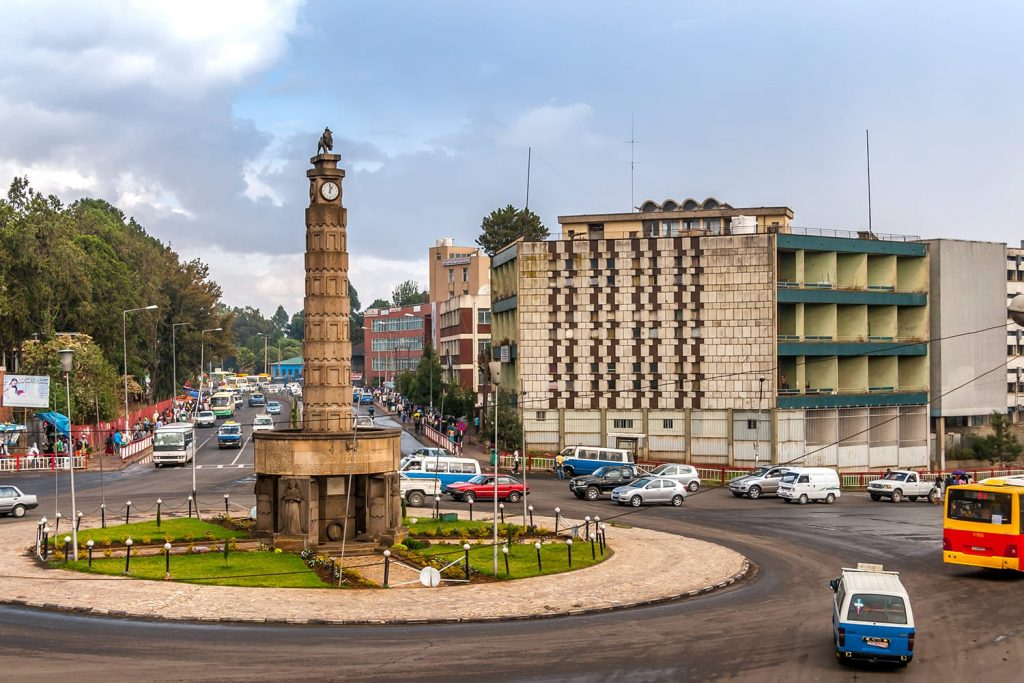Meyazia 27 Square, commonly known as Arat Kilo, in Addis Ababa, Ethiopia