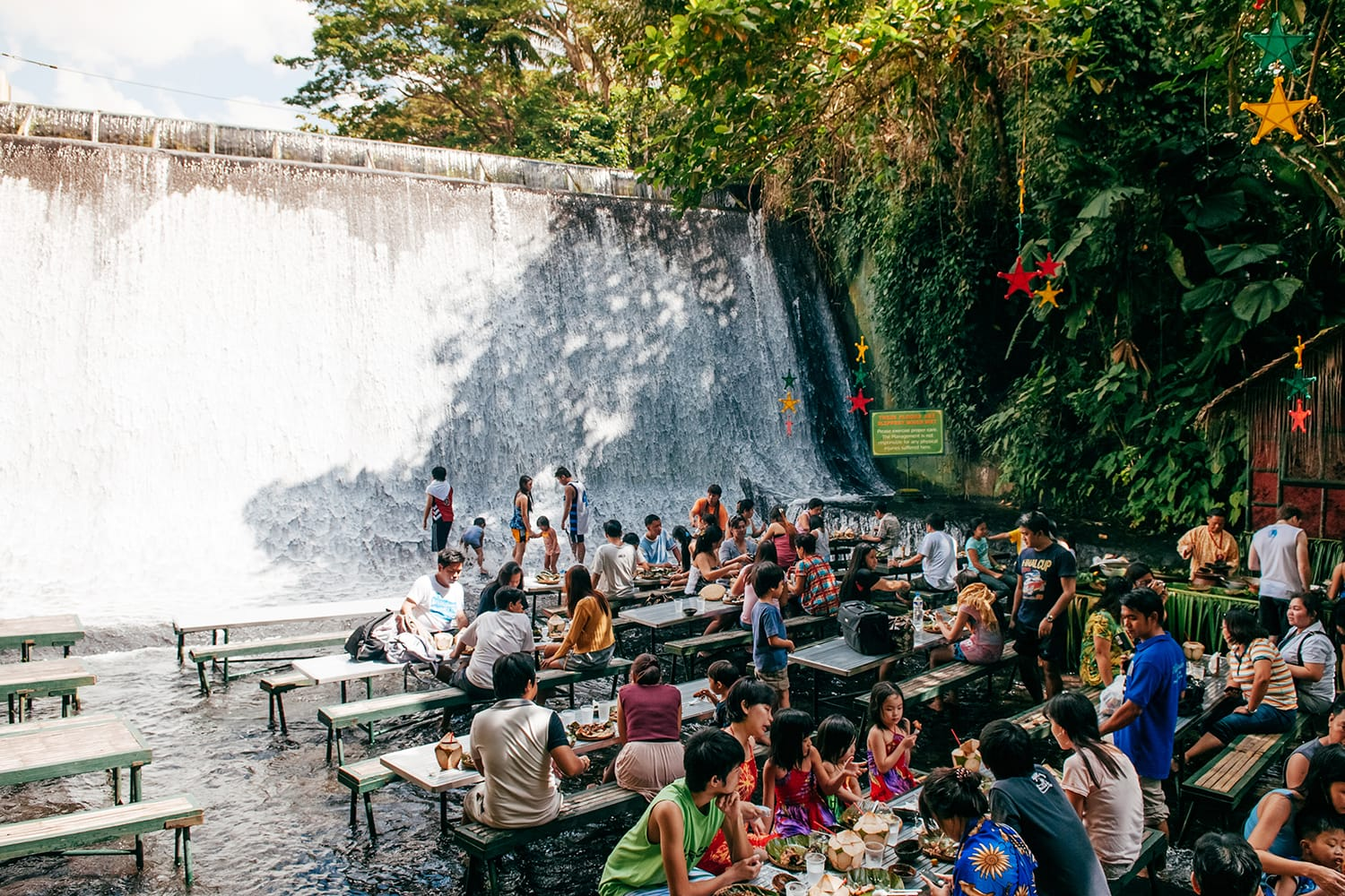 Restaurant in waterfall in Villa Escudero, San Pablo, Philippines