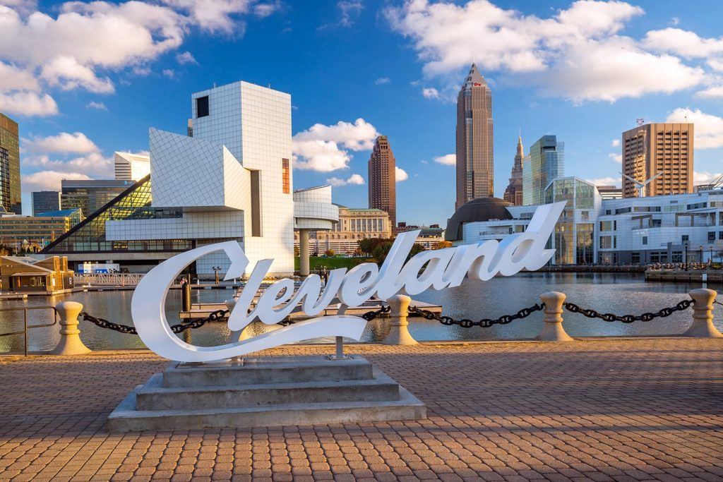Downtown Cleveland skyline from the lakefront in Ohio, USA