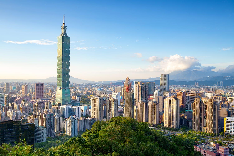 Skyline of Xinyi District in downtown Taipei, Taiwan