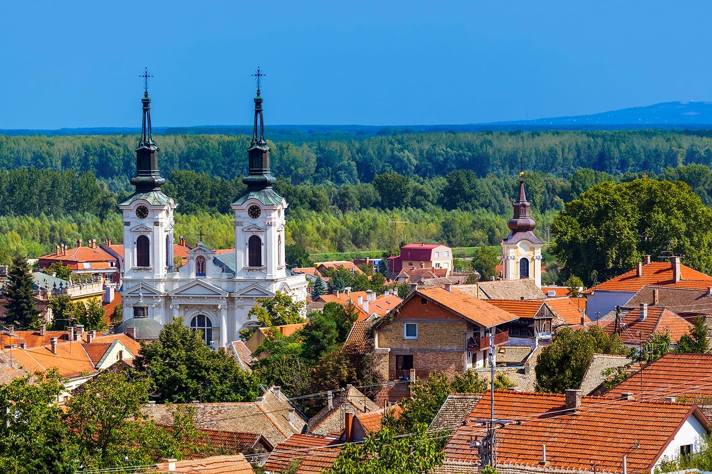 Aerial view of Sremski Karlovci, Serbia