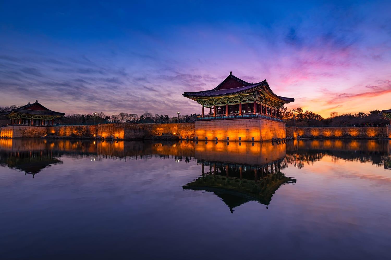 Beautiful Sunset view at Donggung Palace and Wolji Pond in Gyeongju South Korea