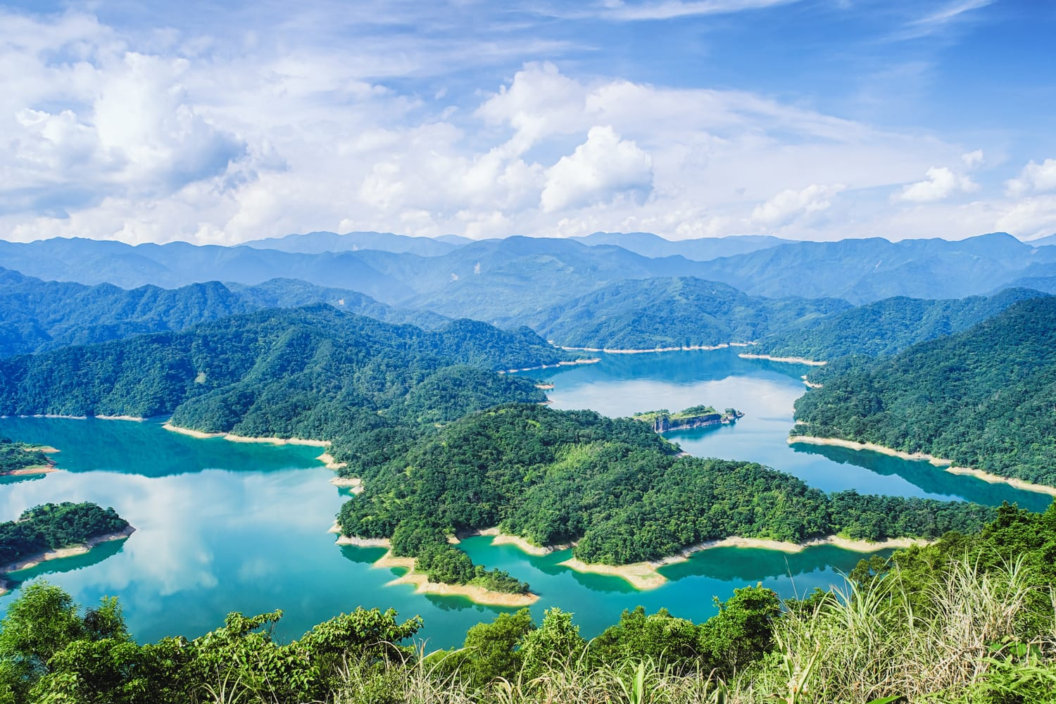Thousand Island Lake from Shiding Crocodile Island at Feitsui Dam in Shiding District, New Taipei, Taiwan