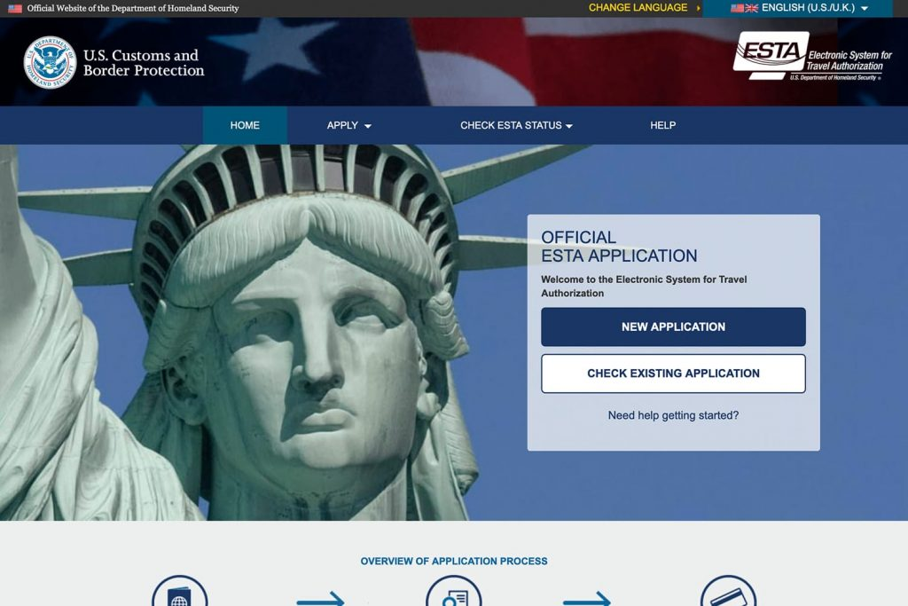 Official ESTA Application Website