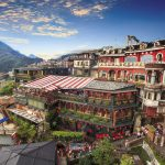 The colourful panorama view of Jiufen old city at evening, Jiufen, Taiwan