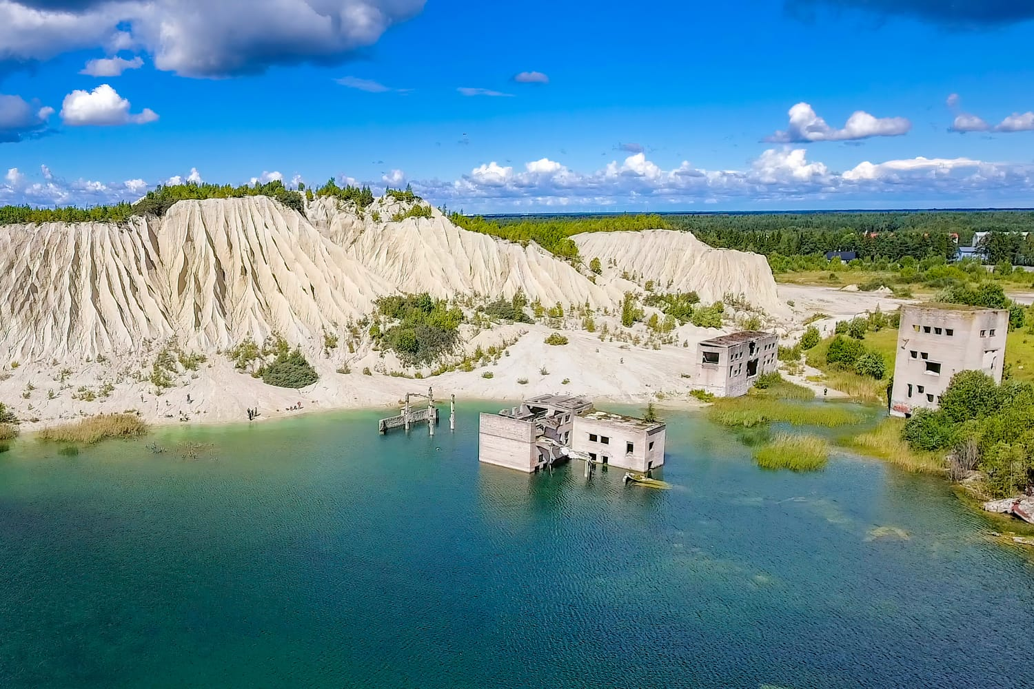 The white limestone mountain quarry in Rummu, Estonia