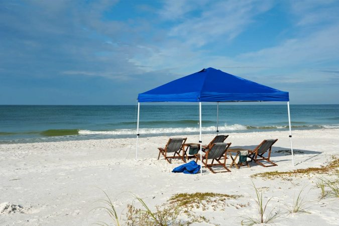 Canopy tent set up on the beach