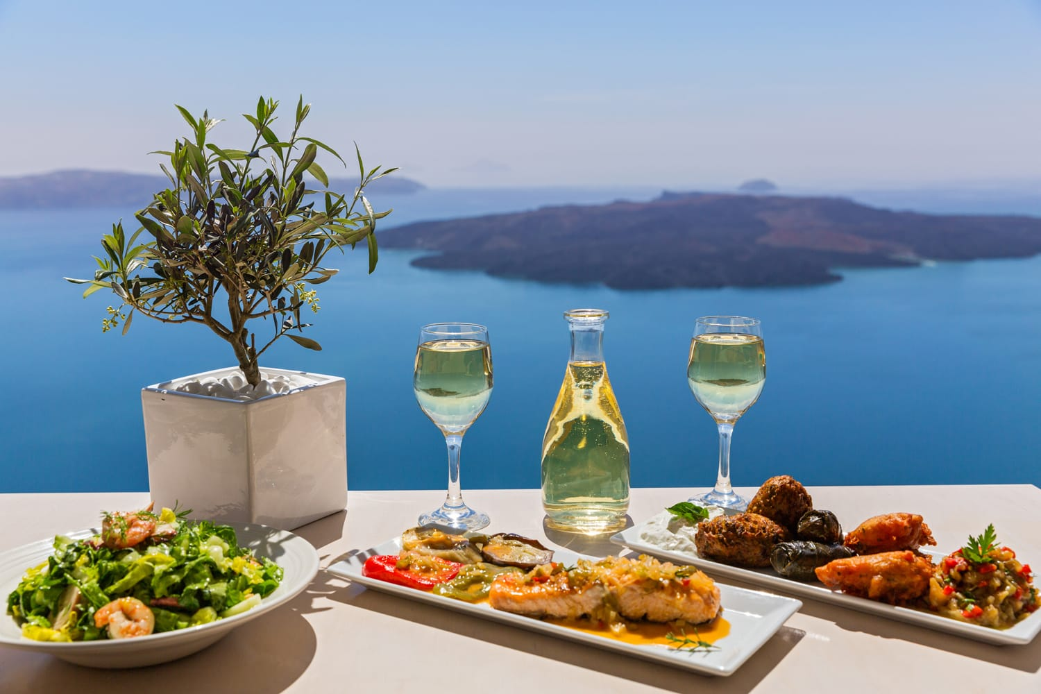 Lunch and wine by the sea, Greece, Santorini