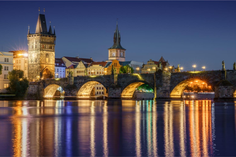 Night view on Charles bridge, Prague, Czech Republic