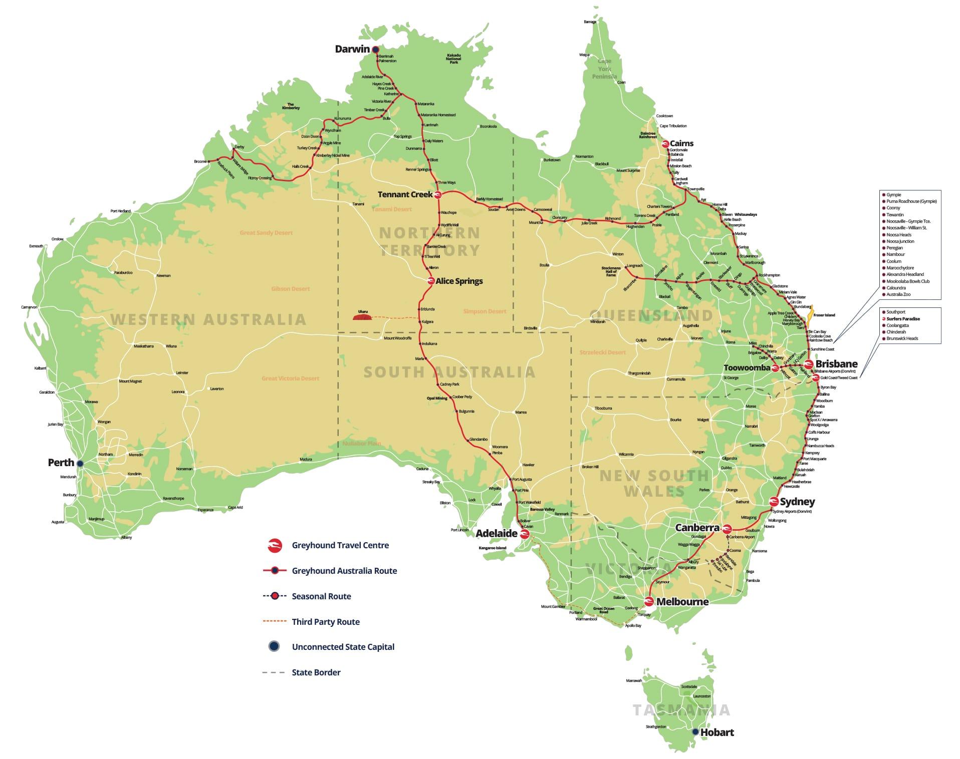 Greyhound Australia Map