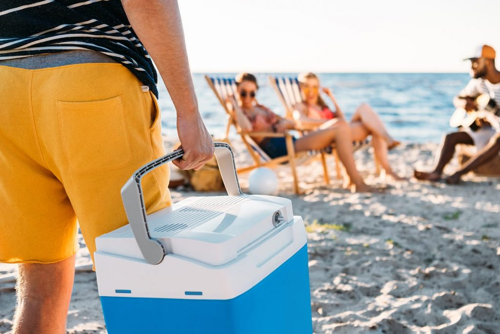 cropped shot of man holding beach cooler while friends resting on sand behind
