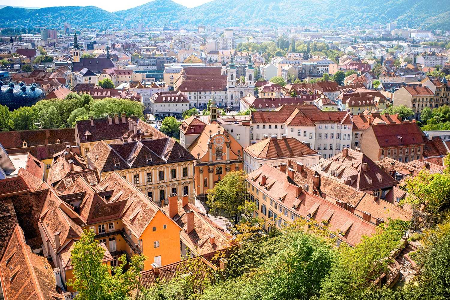 Aerial view of Graz, Austria as soon from Schlossberg