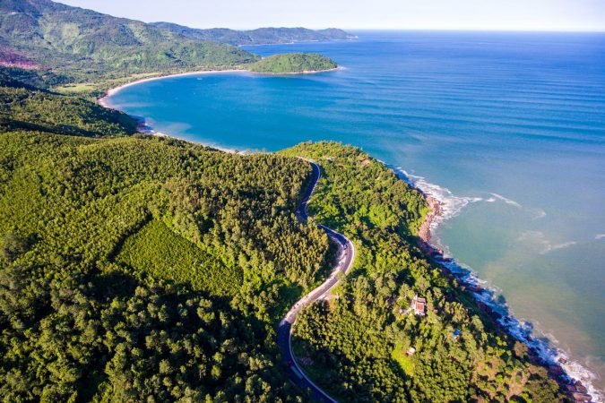 Aerial view of Hai Van Pass in Vietnam