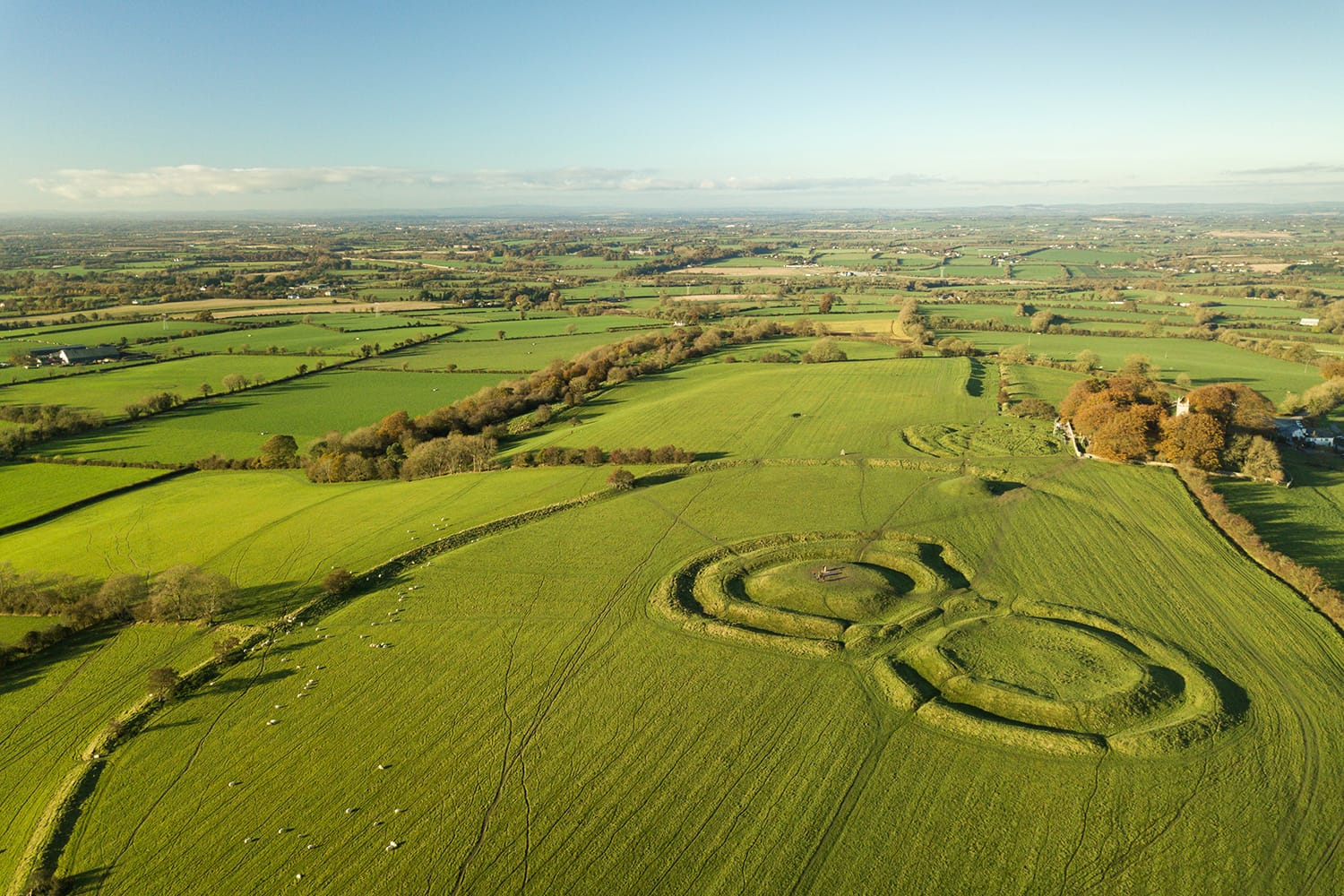 Aerial view of Hill of Tara in Ireland