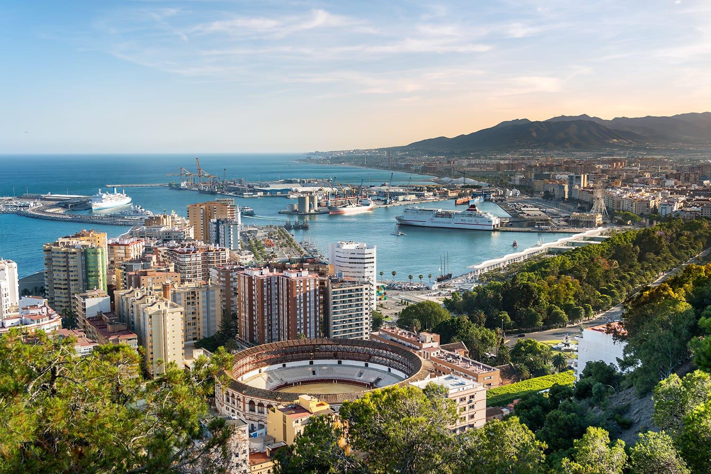 Aerial panoramic view of Malaga city, Andalusia, Spain