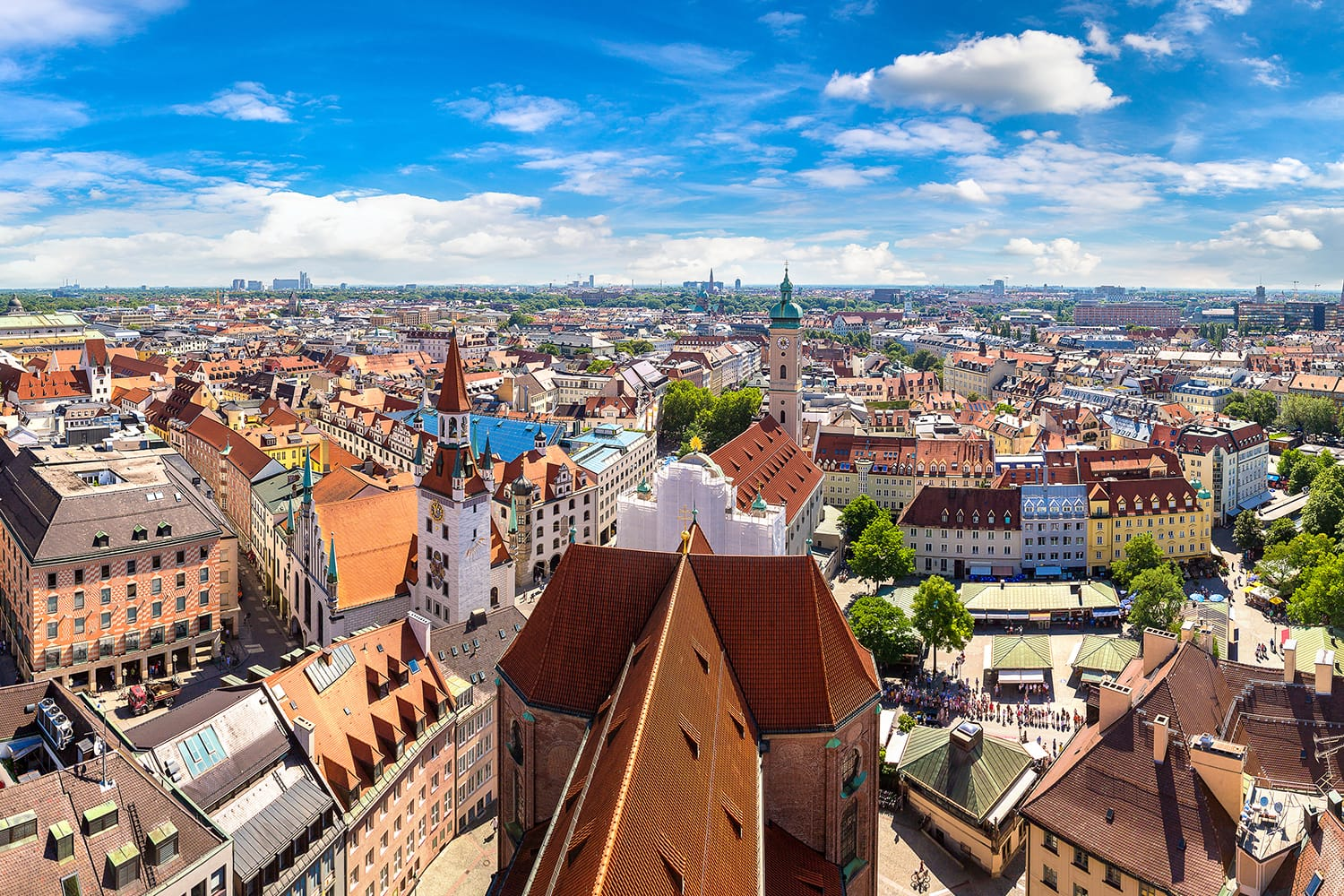 Aerial view of Munich, Germany as seen from St. Peter's Church