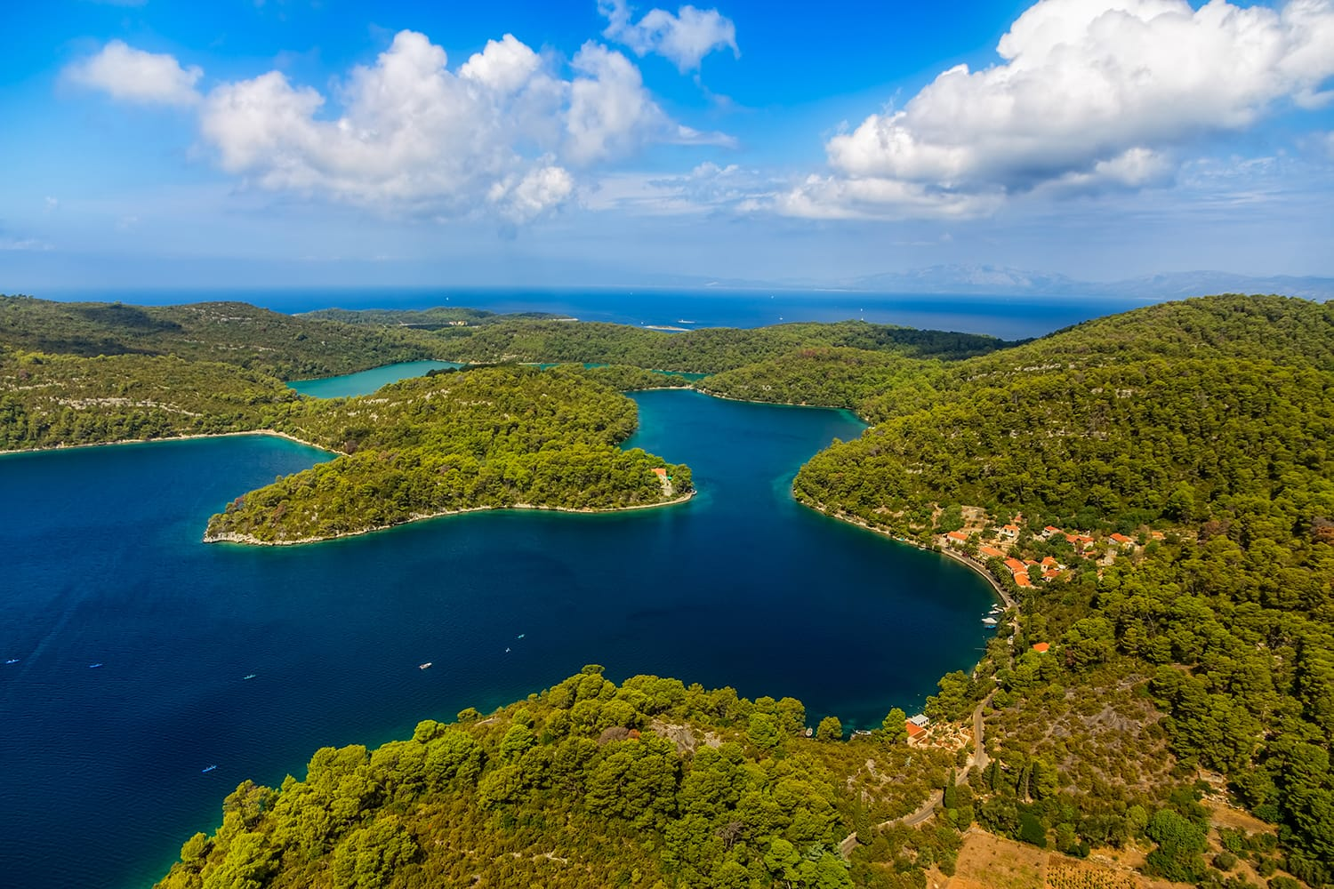Aerial helicopter shoot of National park on island Mljet, Dubrovnik archipelago, Croatia