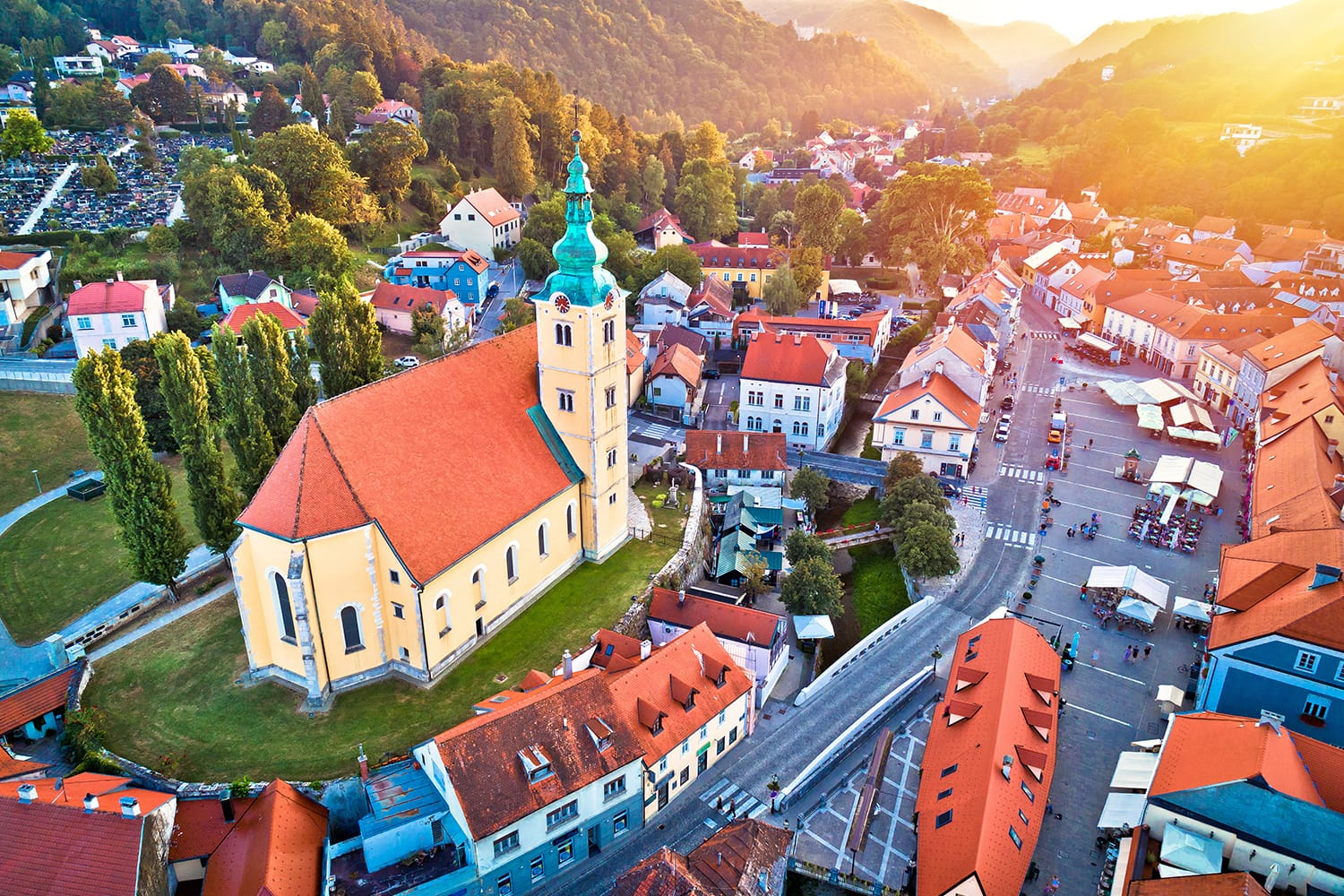 Town of Samobor square aerial burning sunset view, northern Croatia