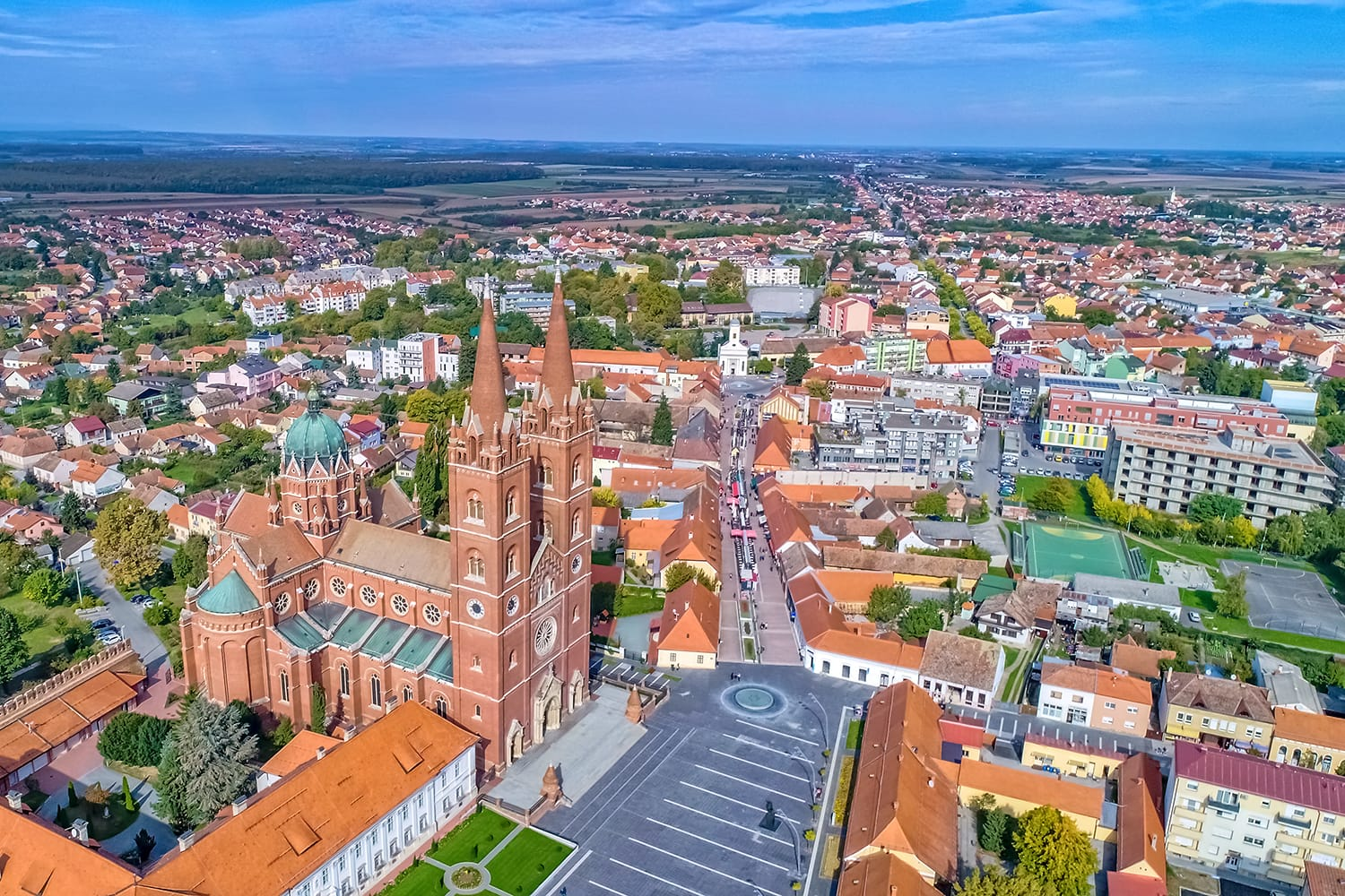 Aerial view of the St. Peter cathedral and the city center of the Djakovo, Croatia.