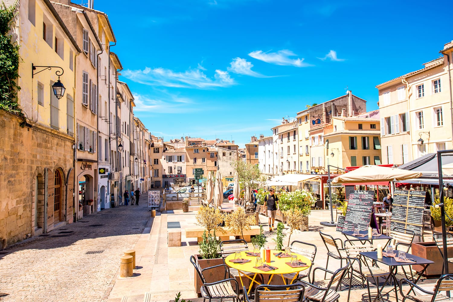 ardeurs square with cafes and restaurants in the old town of Aix-en-Provence city on the south of France.