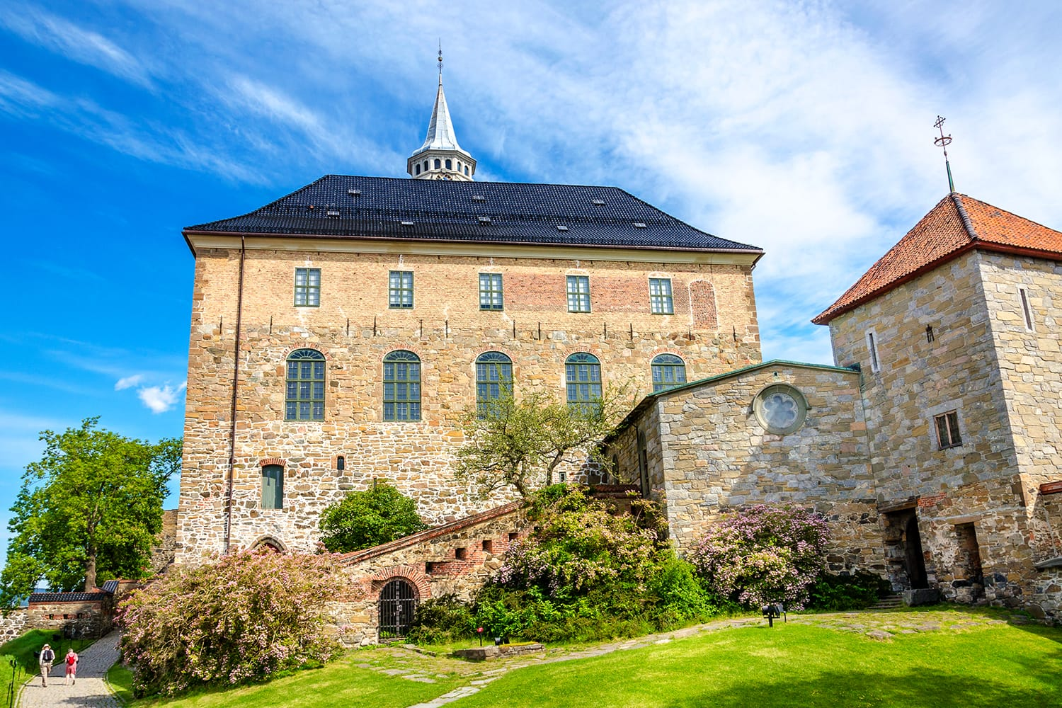 Beautiful medieval Akershus Castle on a background of blue sky, in a lovely sunny summer day, Oslo, Norway, Scandinavia