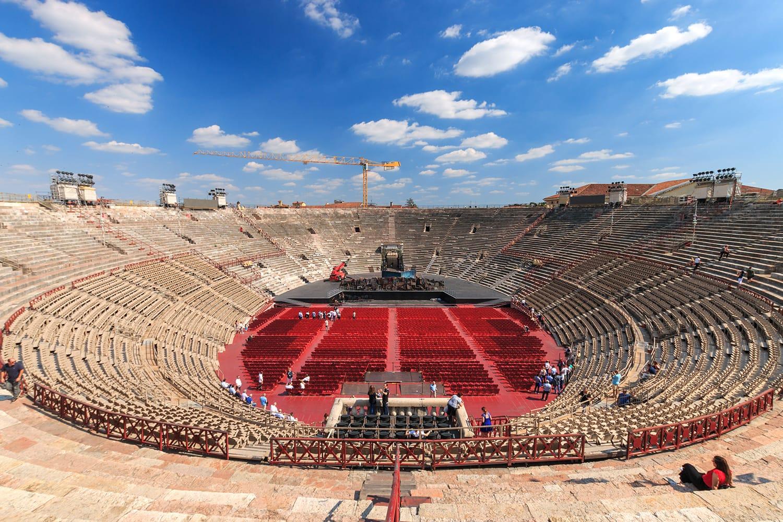 Inside view of Arena di Verona, an ancient Roman amphitheatre in Verona, Italy