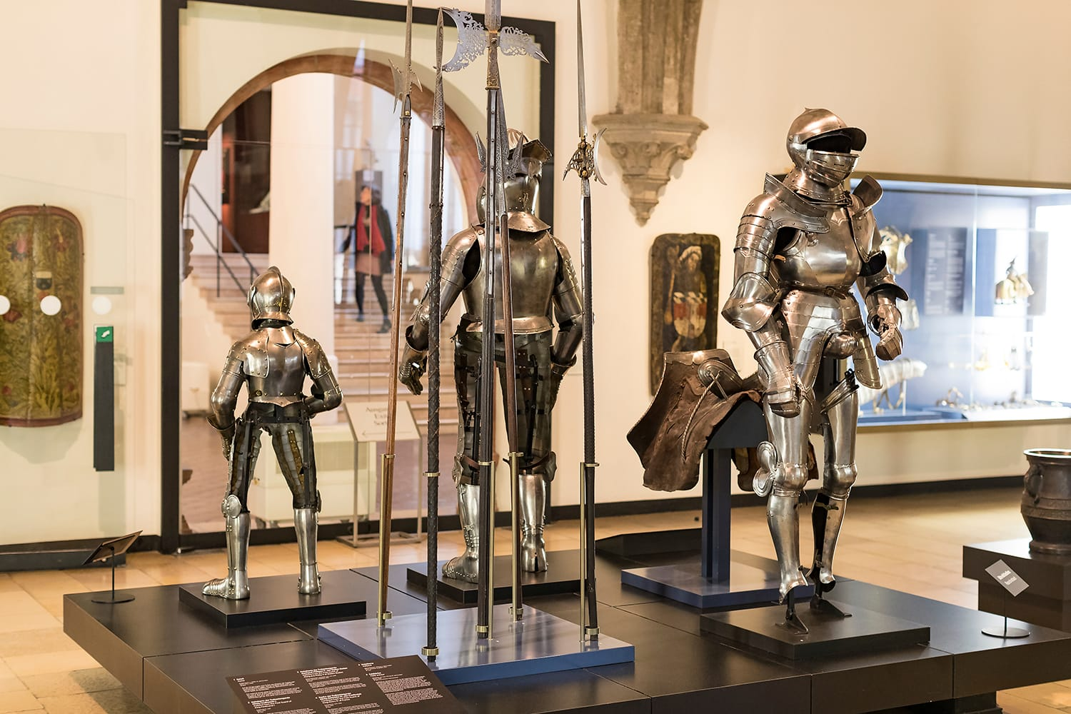 The exposition of medieval armor and knight knights presented in the Bavarian National Museum in Munich.