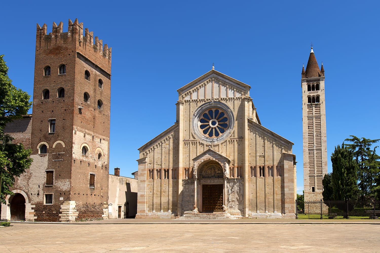 Facade and bell tower of the Church of San Zeno in Verona Italy