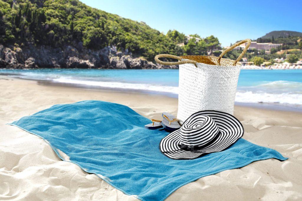 Beach towel on the beach