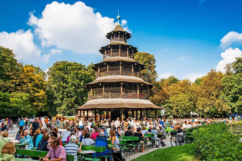 Biergarten near Chinese tower in English garden in Munich, Bayern, Germany