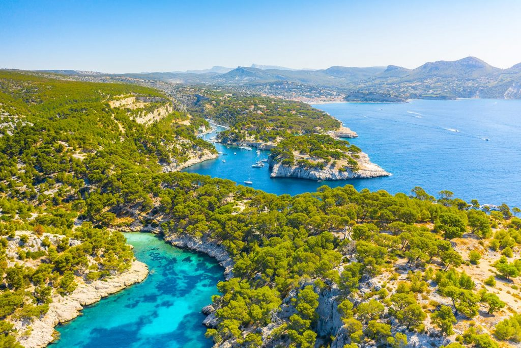 Panoramic view of Calanques National Park near Cassis fishing village, Provence, South France, Europe, Mediterranean sea