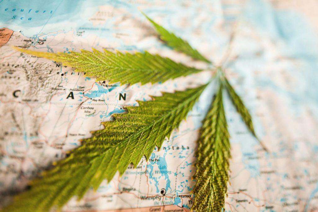 Cannabis on canada map