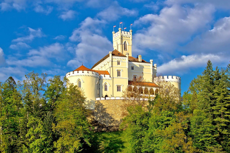 Colorful castle on green hill, Trakoscan, Croatia