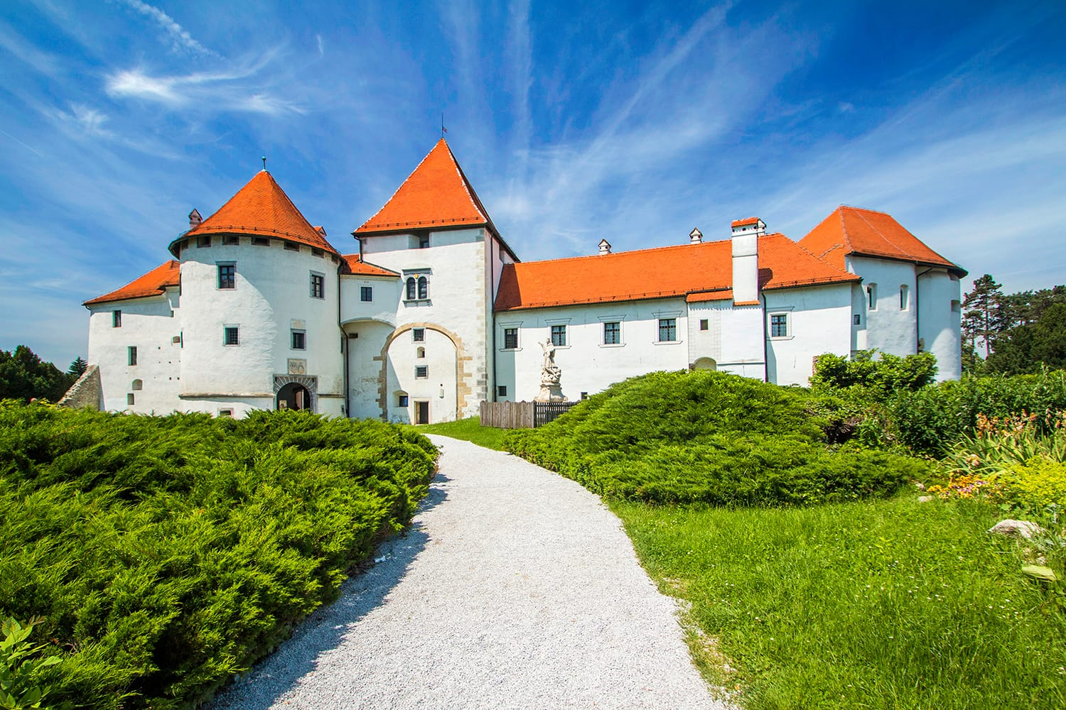City park and old castle in Varazdin, Croatia