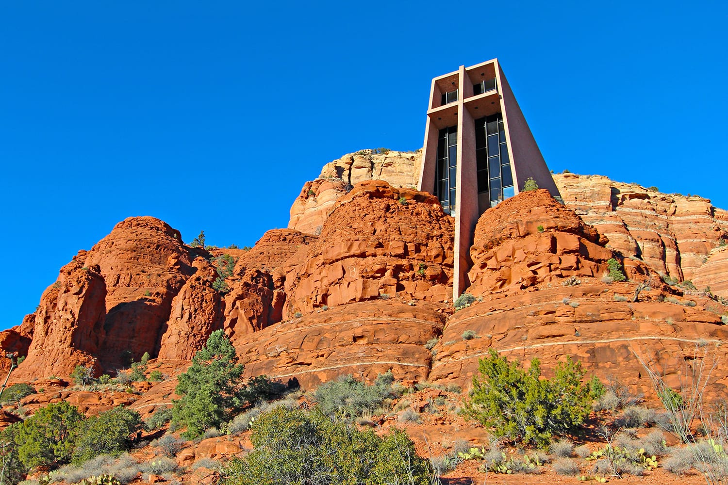 The Chapel of the Holy Cross set among red rocks in Sedona, Arizona
