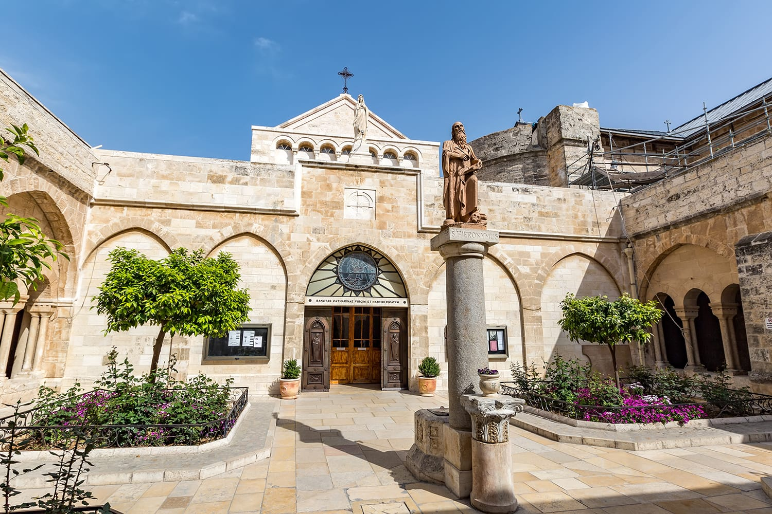 The statue to the St. Jerome located in the middle of the inner courtyard of the Church of the Nativity in Bethlehem.