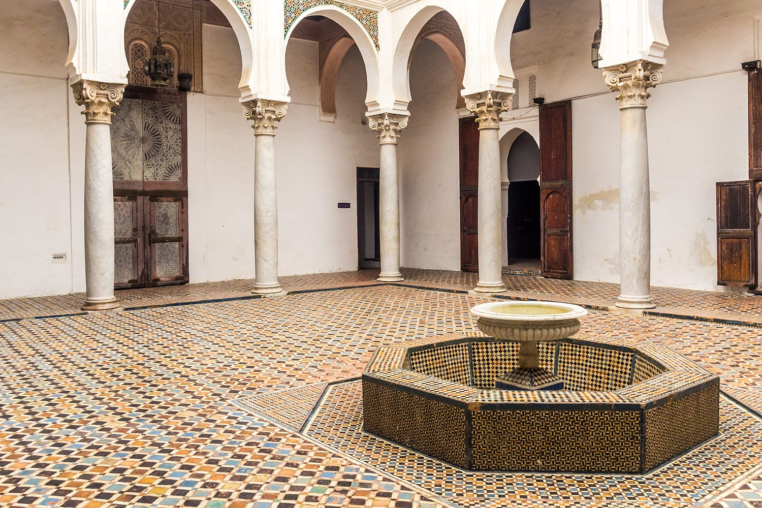 Courtyard interior of the Palace of the Kasbah in the Tangier's medina