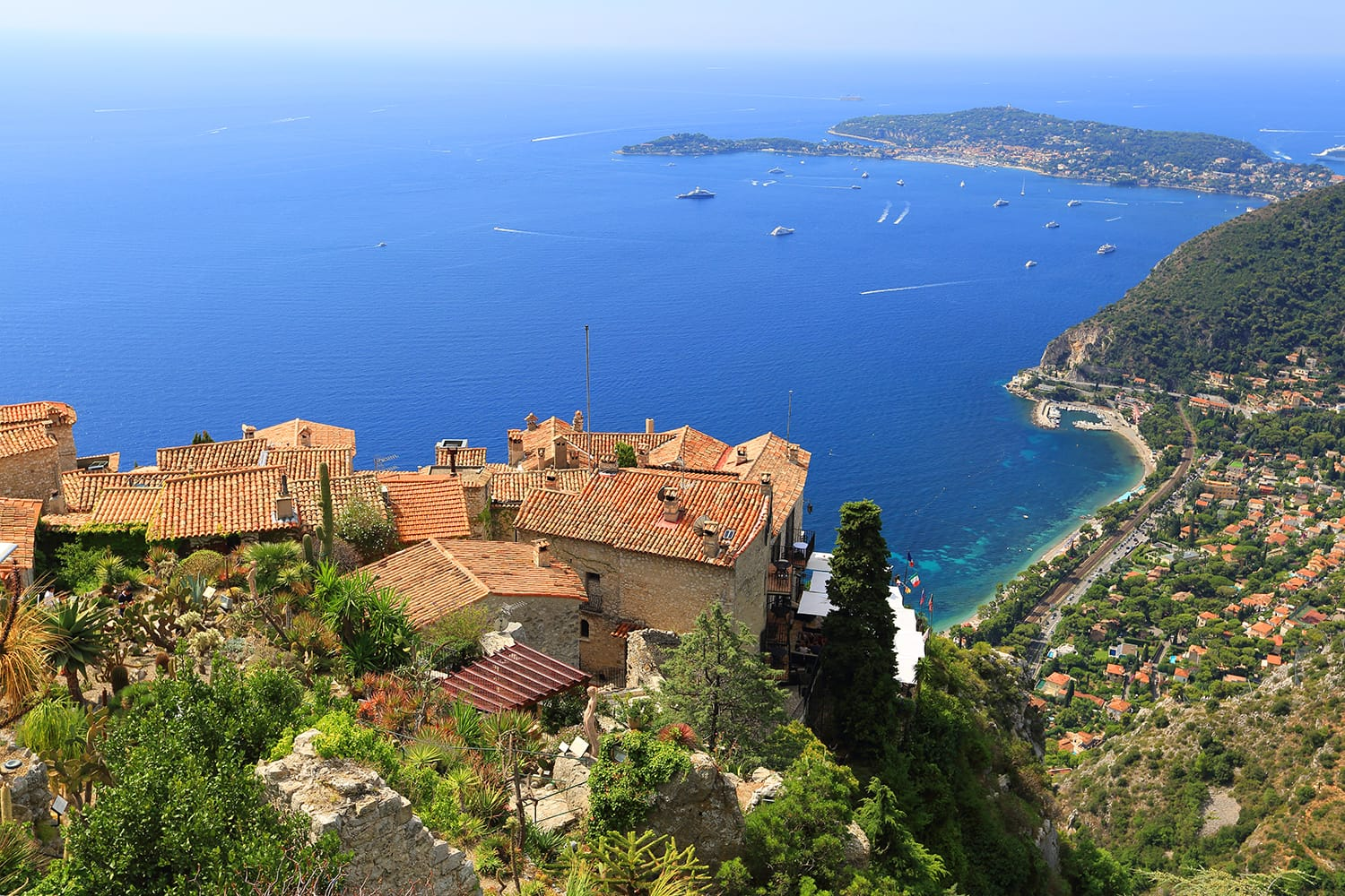 Eze village and Mediterranean Sea, French Riviera, France